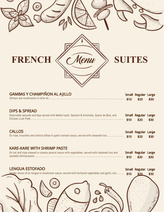 modern french bistro menu template postermywall