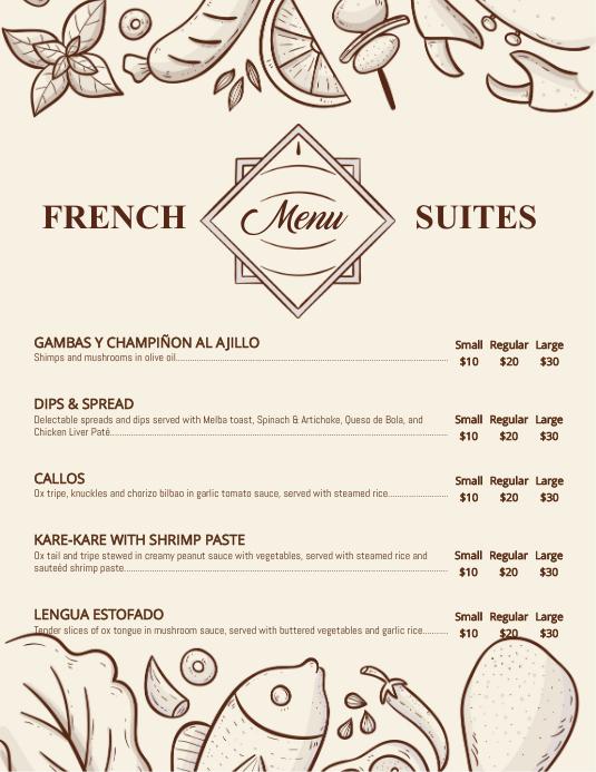 Modern French Bistro Menu Template Pamflet (Letter AS)