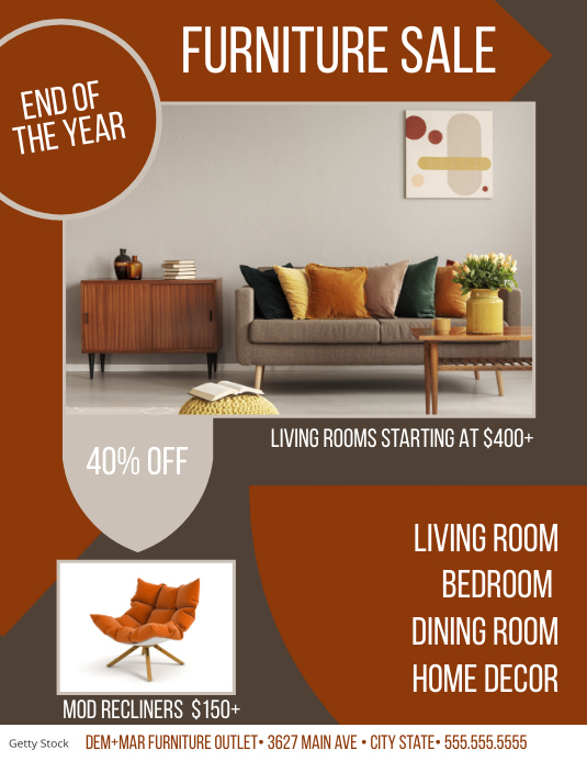 Modern Furniture Sale Flyer Volantino (US Letter) template