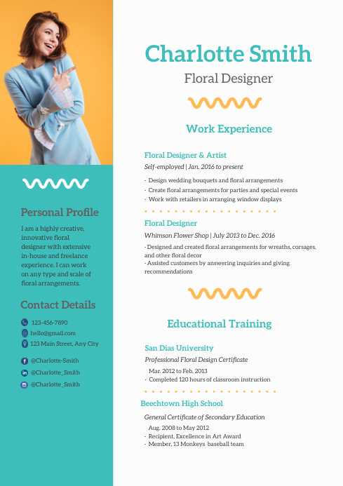 modern geometric teal and mustard resume template