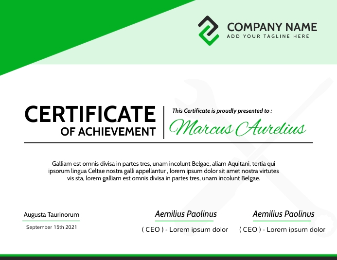 modern green and white and grey diploma certi 传单(美国信函) template