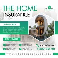 Modern Green Home Insurance Ad Instagram Post template