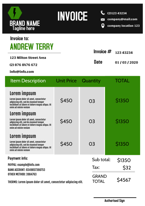 Modern green Invoice Template