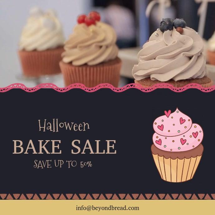 Modern Halloween Bake Sale Video Ad Template Quadrato (1:1)