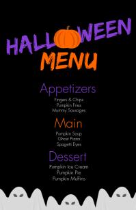 Modern Halloween Birthday Food Menu Kalahating pahina na Wide template