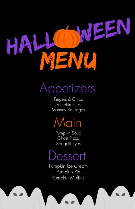 Modern Halloween Birthday Food Menu Szeroki pół strony template