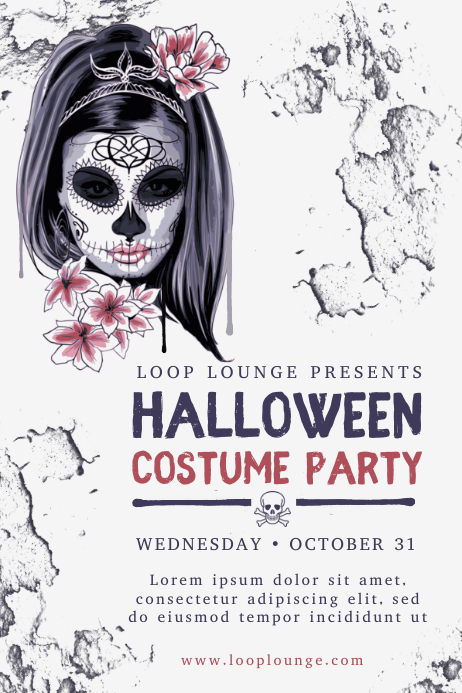 Modern Halloween Costume Party Poster Design Template