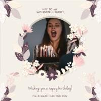 Modern Happy Birthday Wish Invitation Video Square (1:1) template
