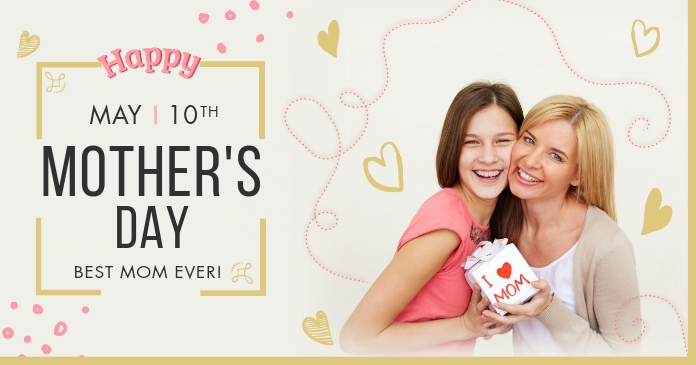 Modern Happy Mother's Day Facebook image delt Facebook-billede template
