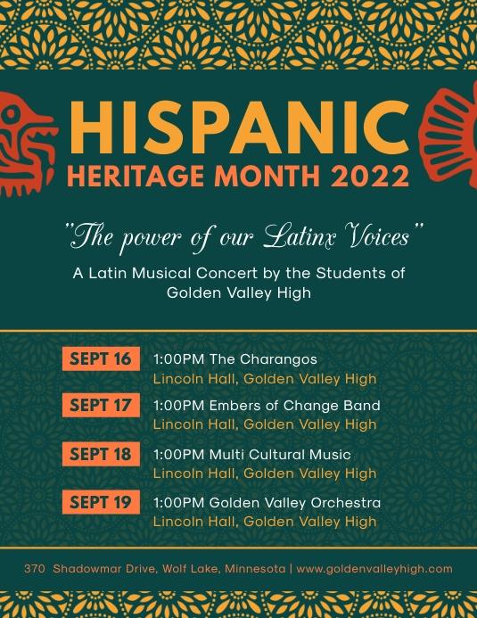 Modern Hispanic Heritage Month Schedule Flyer