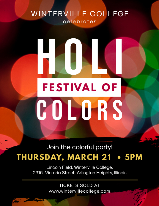 Modern Holi Event Flyer