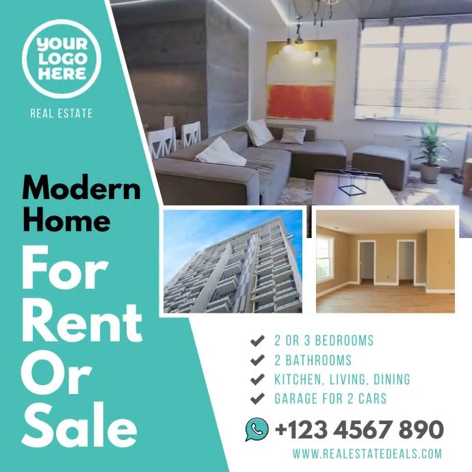 Modern home for rent or sale template Instagram-opslag
