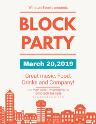 Modern House Block Party Flyer template