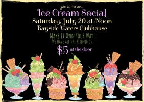 Modern Ice Cream Social Invitation Postkort template