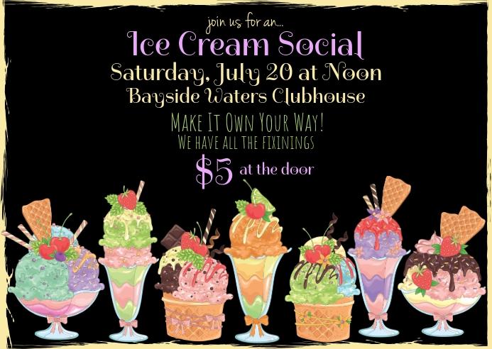 Modern Ice Cream Social Invitation Postcard template