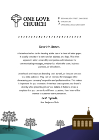Modern Illustrated Church Letterhead
