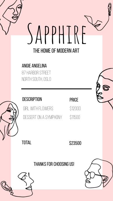 Modern line art digital invoice História do Instagram template