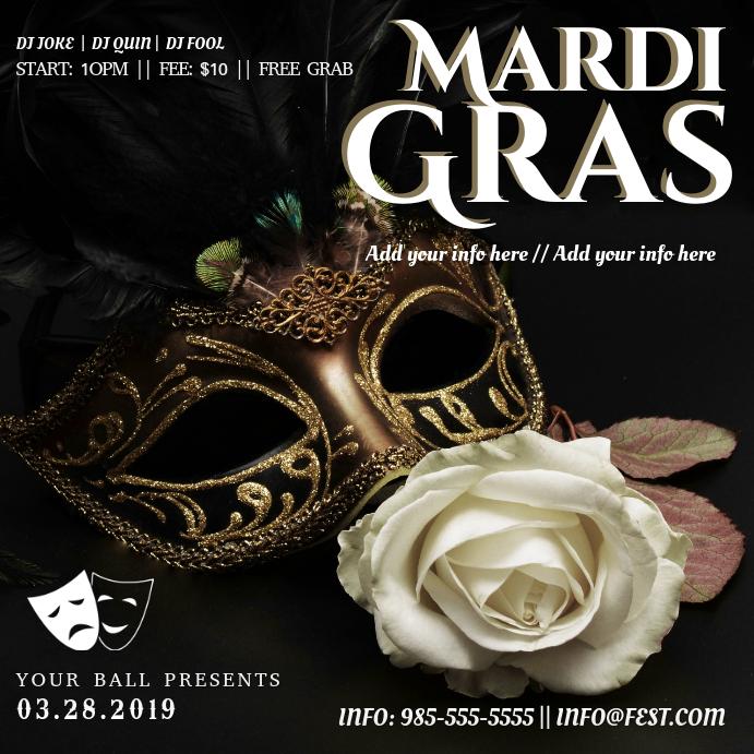 Modern Mardi Gras Invitation Template