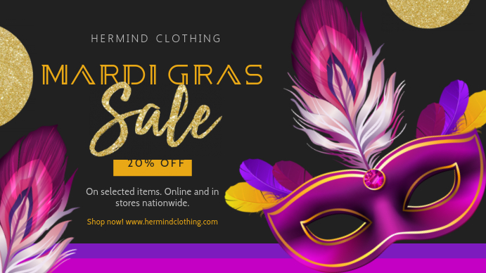 Modern Mardi Gras Retail Display Banner Pantalla Digital (16:9) template