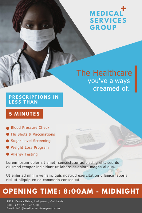 Modern Medical Clinic Advertisement Flyer Template Плакат