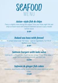 Modern menu seafood beach fish dishes card A4 template