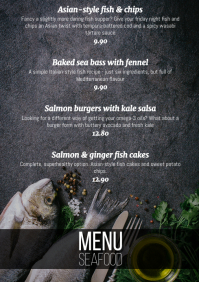 Modern menu seafood fish dishes one page A4 template