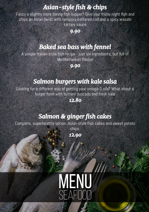 Modern menu seafood fish dishes one page