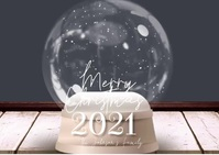 Modern Merry Christmas Snowglobe Family Video Postcard template