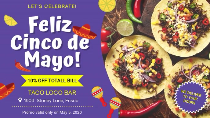 Modern Mexican Cuisine disply Ad Digitalt display (16:9) template