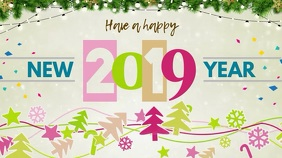 Modern New Year Wish Digital Display Video Template