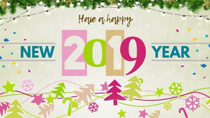 Modern New Year Wish Digital Display Video Template Digitalanzeige (16:9)