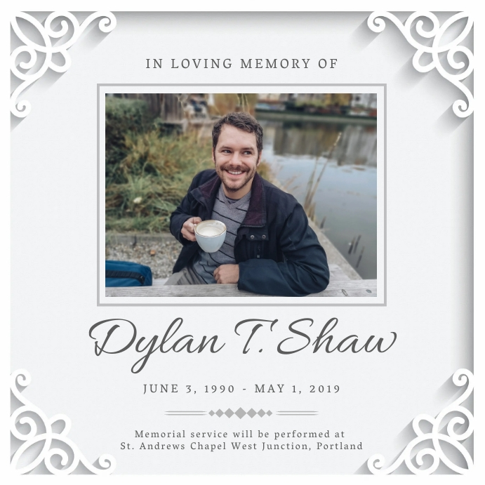modern obituary instagram image post template Instagram-Beitrag