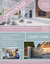 Modern Open House Luxury Home Flyer Brown Volante (Carta US) template