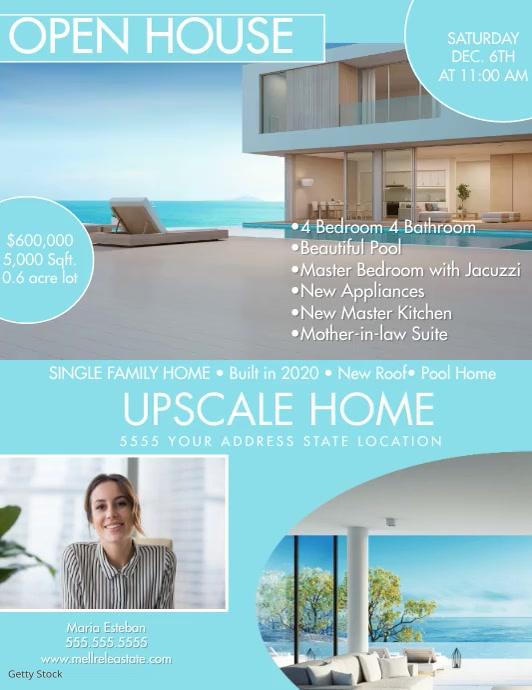 Modern Open House Upscale Home Flyer Folheto (US Letter) template