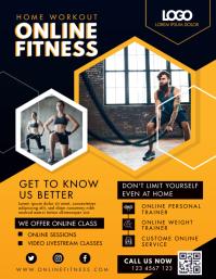 Modern Orange Online Fitness Program Flyer