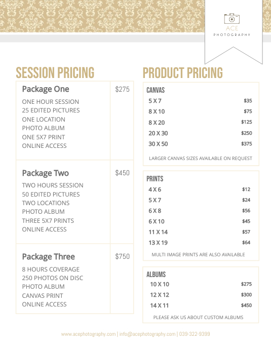 Modern Photographer Price List Template Flyer (Letter pang-US)