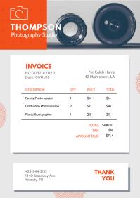 Modern Photography Invoice A4 template
