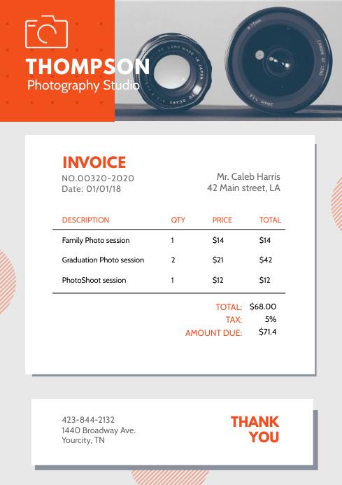 Modern Photography Invoice