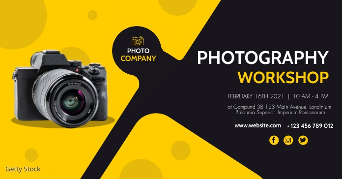 modern photography workshop facebook advertis Facebook-advertentie template