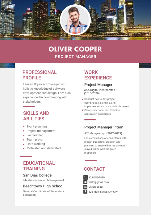 Modern Project Manager Resume Template Postermywall