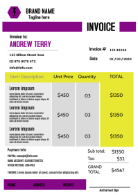 Modern purple Invoice Template