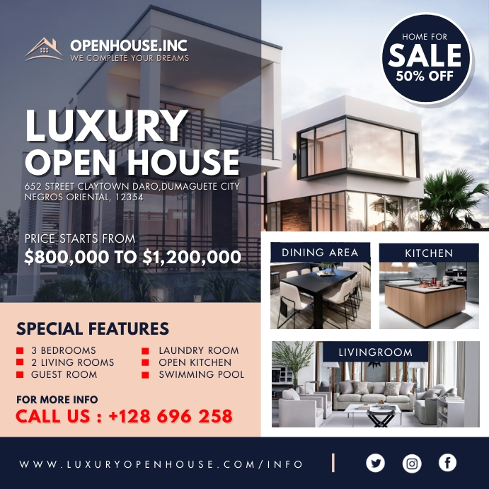 Modern Real Estate Open House Instagram Templ สี่เหลี่ยมจัตุรัส (1:1) template