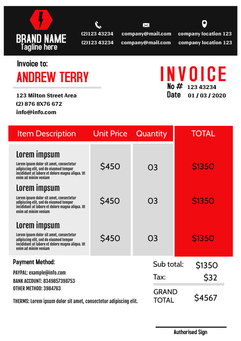 Modern red Invoice Template A4