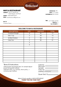 Modern Red Motif Restaurant Invoice A4 Templa template