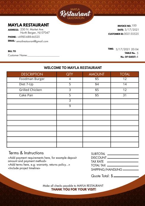 Modern Red Motif Restaurant Invoice A4 Templa template