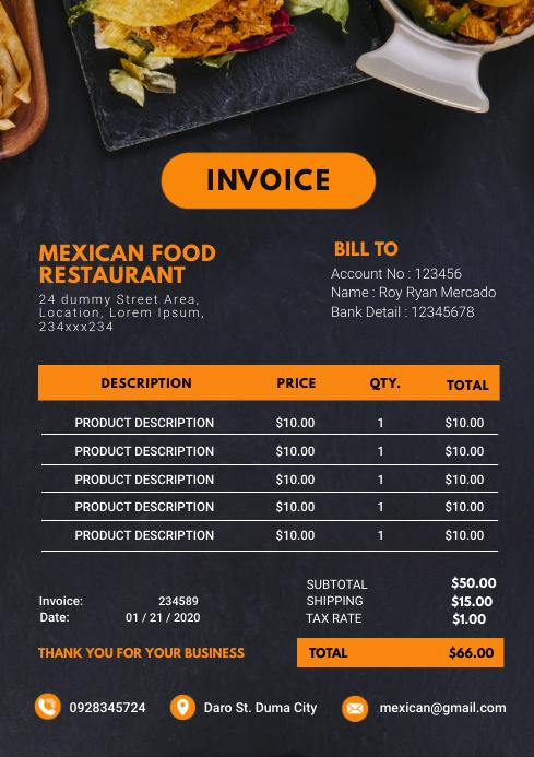 Modern Restaurant Sales Invoice A4 template