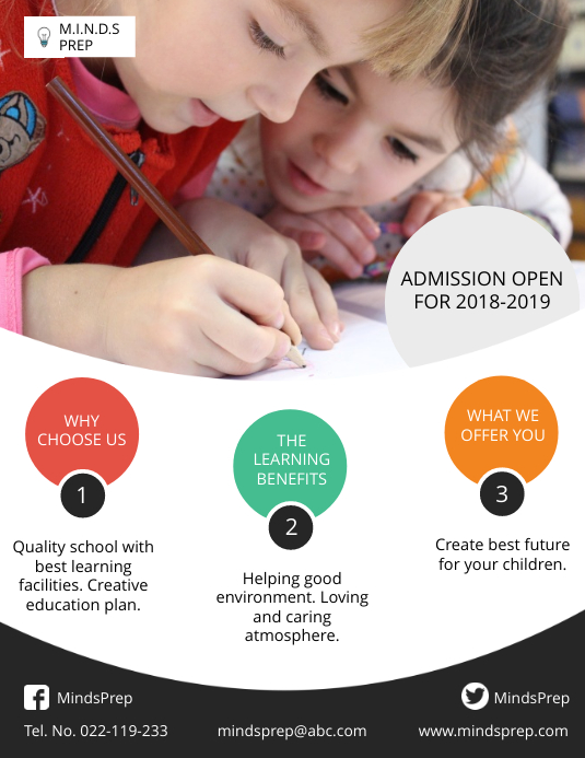 Modern School Admission Open Poster Template Folheto (US Letter)
