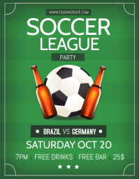 Modern Soccer League Party Invitation Flyer