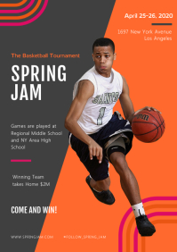 Modern Spring Basketball Game Magazine Ad A4 template