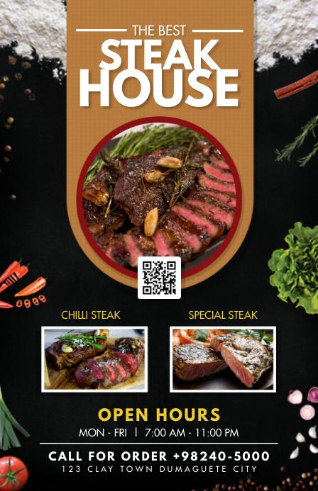 Modern Steak House Table Talker Halv side bred template